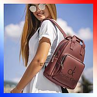 Рюкзак женский бордовый Calvin Klein Кельвин Кляйн однотонный средний из эко кожи