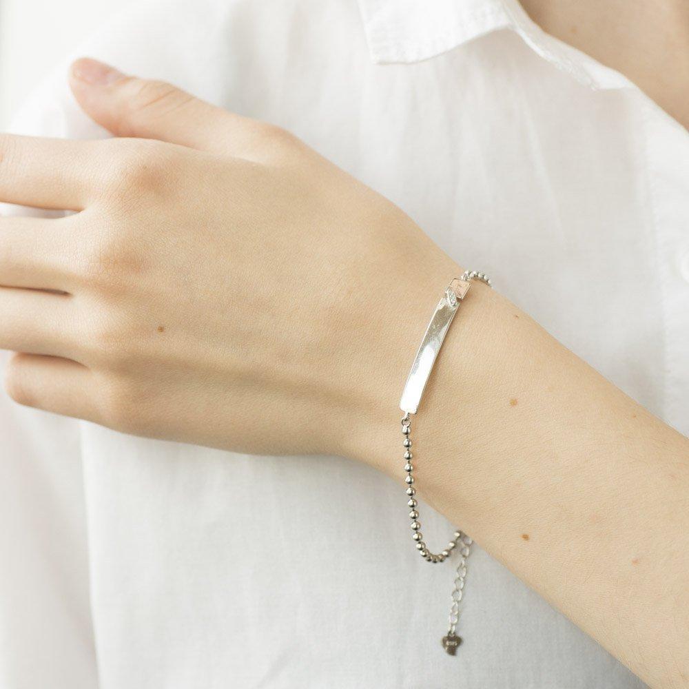 Серебряный браслет для гравировки (фианиты) 141289