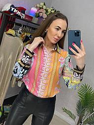 Рубашка женская яркая шифоновая с узором (в расцевтках)