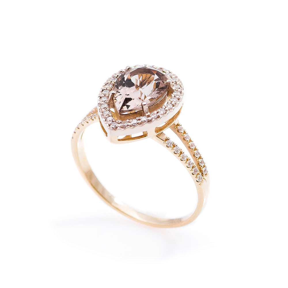 Золотое кольцо GS с раухтопазом и фианитами