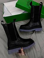 Женские демисезонные ботинки B*ttega Veneta Boots Черные, Реплика Люкс