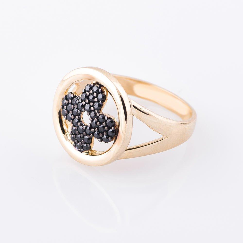 """Золотое кольцо GS """"Цветок-клевер"""" с фианитами"""