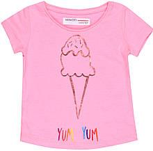 Детская розовая футболка для девочки 1-1.5 года 80-86 см