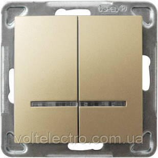 Двоклавішний вимикач з підсвічуванням OSPEL IMPRESJA GOLD 250V/16A