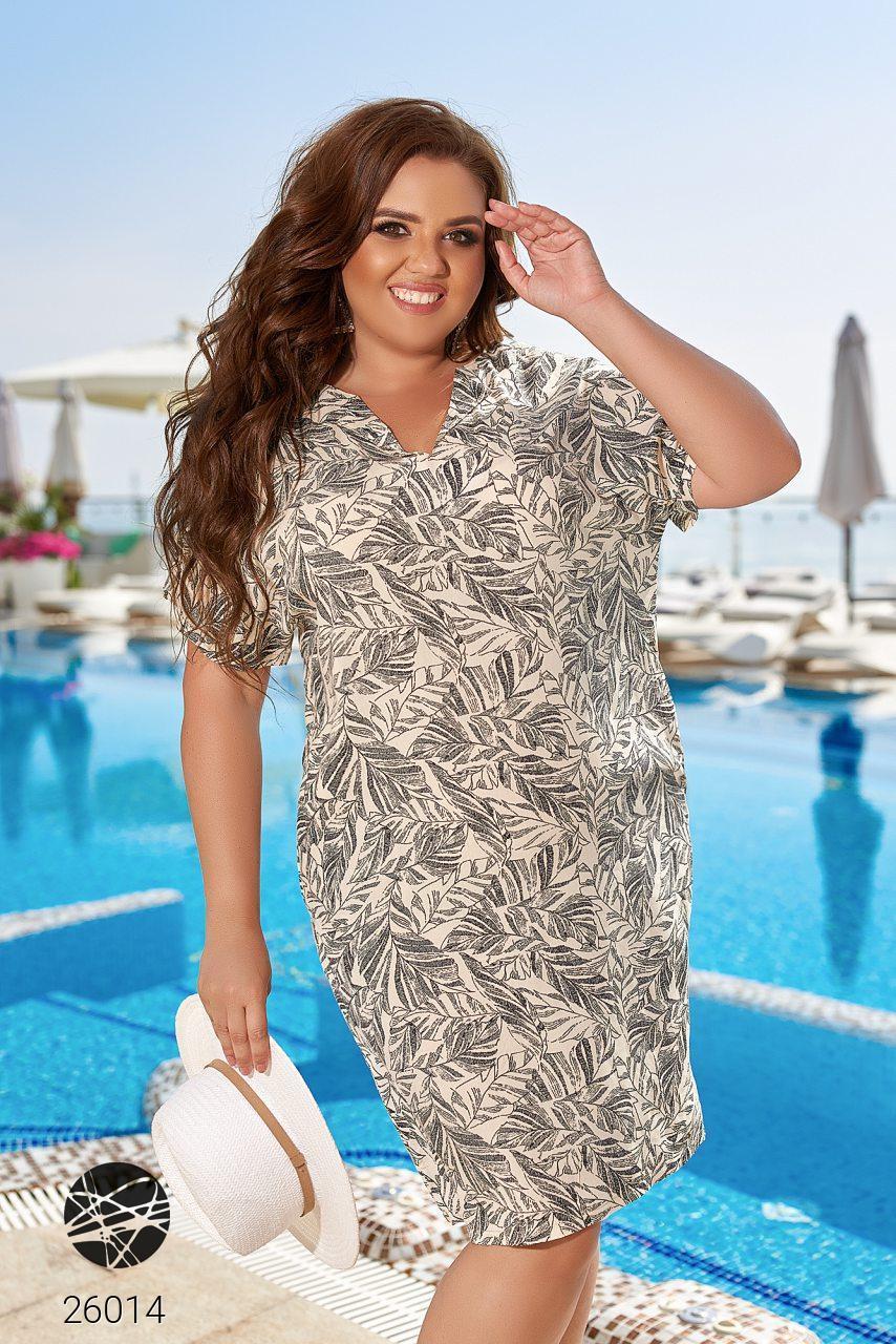 Літній бежева сукня з принтом Батал. Модель 26014. Розміри 48-66