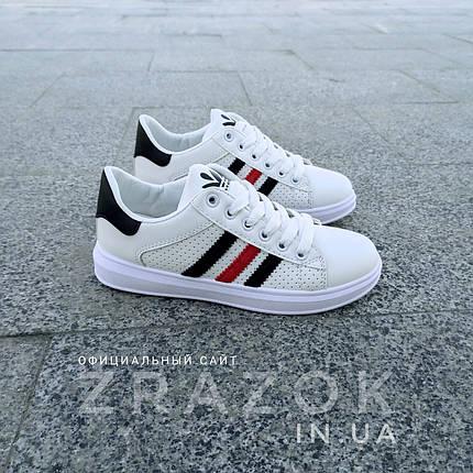 Белые летние кроссовки эко кожа кожаные в дизайне adidas stan smith superstar  женские, фото 2