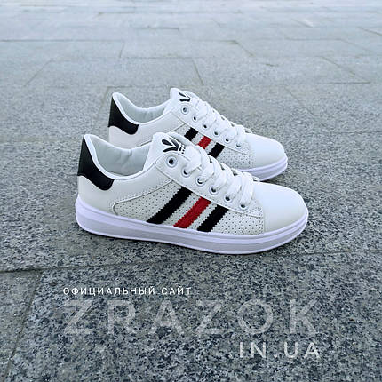 Білі літні кросівки еко шкіра шкіряні в дизайні adidas stan smith superstar жіночі, фото 2