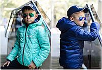 """Детская двухсторонняя куртка осень-весна с капюшоном на змейке """"Fila"""" плащевка+силикон 150 рост:122-152 см"""