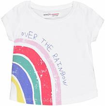Детская белая футболка для девочки с ярким принтом 1-1.5 года 80-86 см
