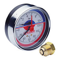 Термо-манометр аксиальный (KOER KM.812A) (0-10 bar), D=80мм, 1/2'' (KR0219)