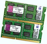 Пара оперативной памяти для ноутбука Kingston DDR3 4Gb (2Gb+2Gb) 1333MHz 10600s CL9 2R8 (KTL-TP3B/2G) Б/У, фото 1