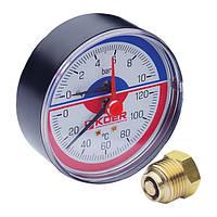 Термо-манометр аксиальный (KOER KM.802A) (0-10 bar), D=80мм, 1/2'' (KR0224)