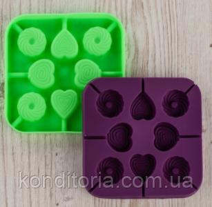Форма силиконовая для конфет JSC3276 ФОРМА ДЛЯ КОНФЕТ (СЕРДЦЕ,КРУГ) 8ШТ.