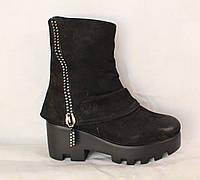 Зимові черевики на тракторній підошві, чорний нубук, фото 1
