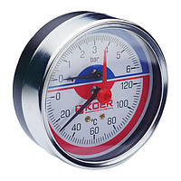 Термо-манометр аксиальный (KOER KM.812A) (0-6 bar), D=80мм, 1/2'' (KR0220)