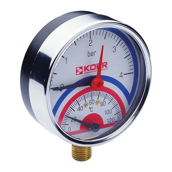 """Термо-манометр радіальний (KOER KM.821R) (0-4 bar), D=80мм, 1/2"""" (KR0213)"""