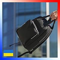 Рюкзак женский из эко-кожи городской черный на два отделения повседневный рюкзачок для девушек