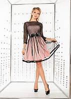 Женское стильное молодежное платье сетка бордо с розовой подкладкой с коженным поясом
