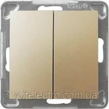 Прохідний вимикач двоклавішний OSPEL IMPRESJA GOLD 250V/16A OSPEL IMPRESJA ŁP-10Y/m/28 зол
