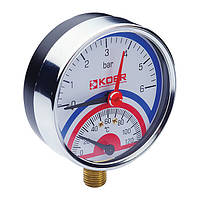 Термо-манометр радиальный (KOER KM.821R) (0-6 bar), D=80мм, 1/2'' (KR0214)