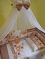 """Постельный набор в детскую кроватку """"Мишки с ромбиком""""  кофейный, фото 1"""