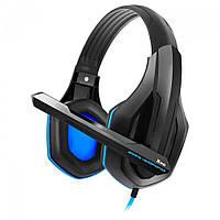 Наушники с микрофоном проводные Gemix Gaming X-340 2*3.5мм(3) каб.2.4м рег.громк. чёрные с синим новые