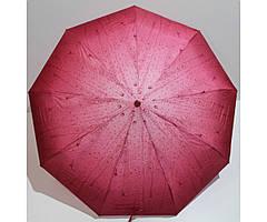 Жіночий парасольку автомат Антиветер 3 складання Rain Lucky з краплями Бордовий