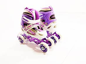 Детские ролики для начинающих квады размер 29-33 и 34-37  LikeStar (2в1) фиолетовый цвет