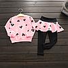 Модный комплект одежды для девочек, детский топ с длинным рукавом и штаны, комплект из 2 предметов.