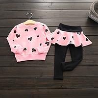 Модный комплект одежды для девочек, детский топ с длинным рукавом и штаны, комплект из 2 предметов., фото 1