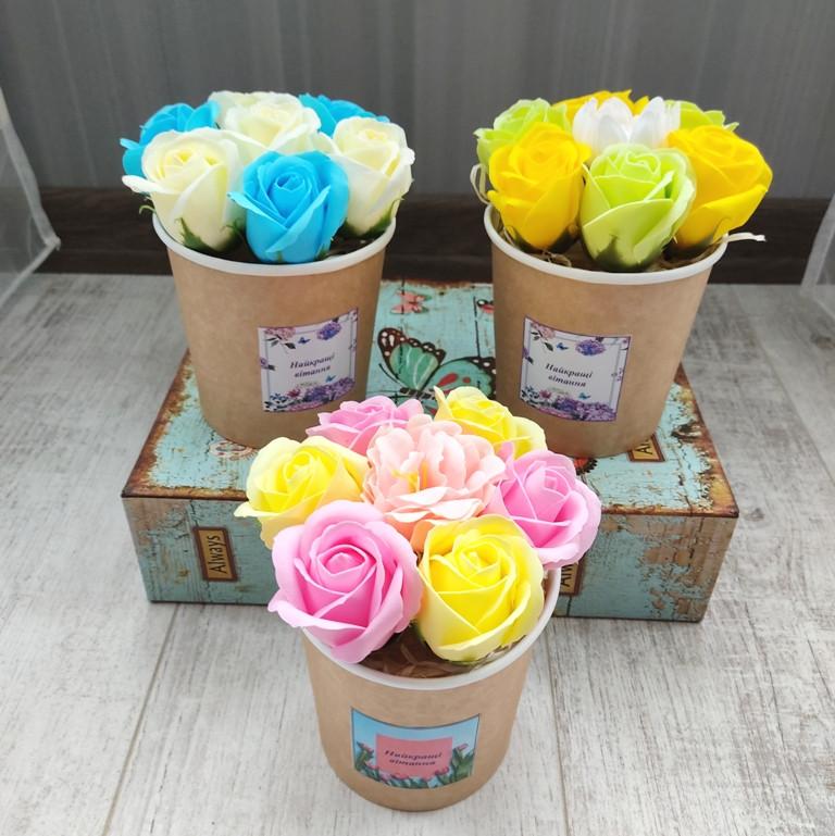 Мильний букет із 7 троянд . Букет із мила. Подарунок на 8 Березня, День народження, корпоративні подарунки
