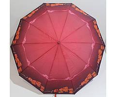 Жіноча парасолька автомат Антивітер 3 складання FLAGMAN з малюнком Бордовий