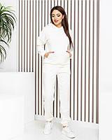 Плюшевий жіночий костюм з велюру (велюровий) арт.М419 білий /білого кольору