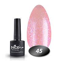 Гель-лак Nice For You Основная палитра №045 розовый с блестками 8,5 г.