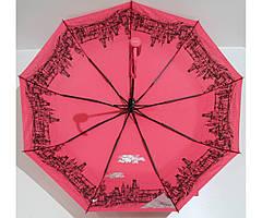 Жіноча парасолька Антивітер 3 складання FLAGMAN  з малюнком всередині Червоний