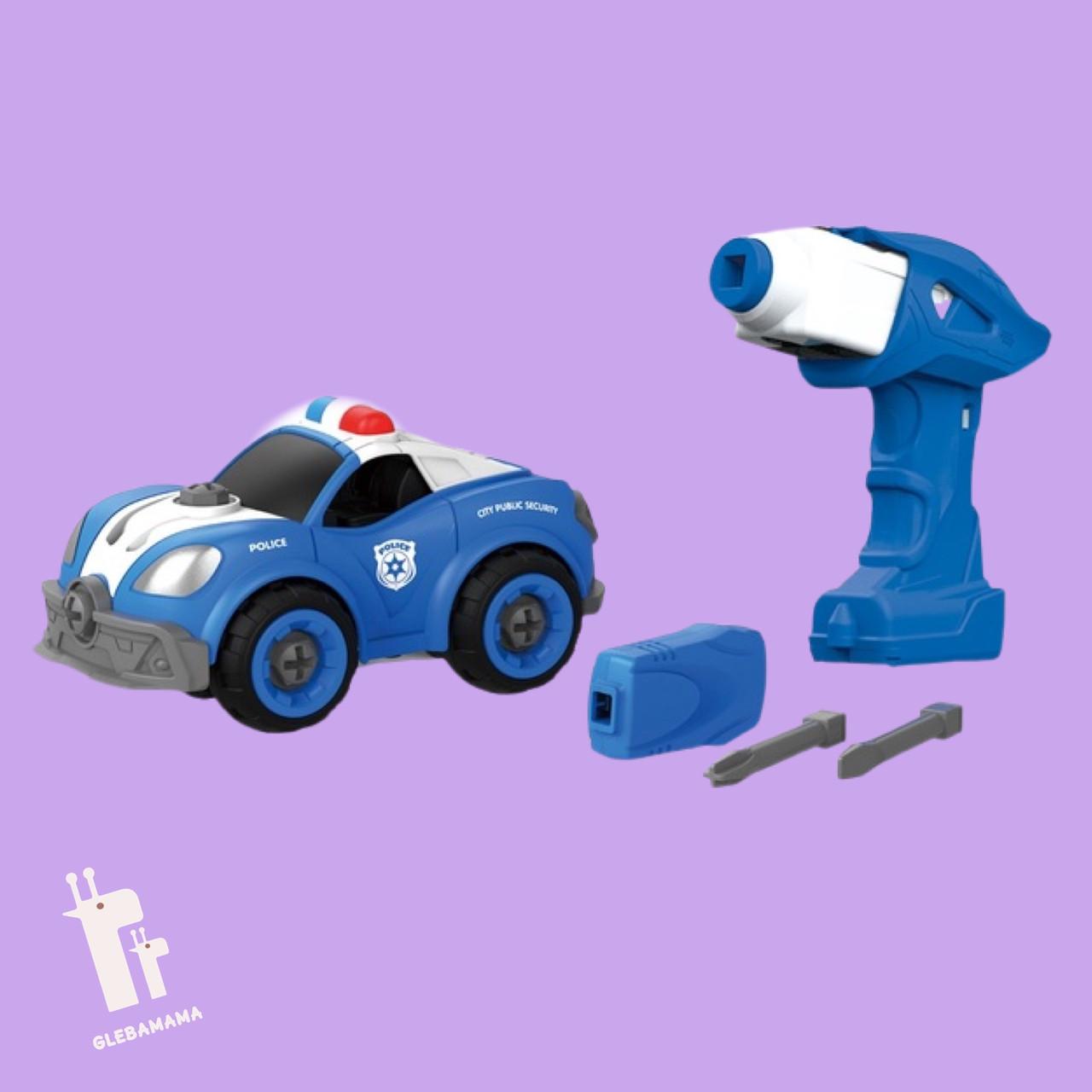 Игрушка-конструктор полицейская машина с электродвигателем DIY SPATIAL CREATIVITY, 22 детали