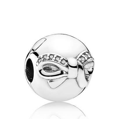 Клипса «Изящный бант» из серебра 925 пробы в стиле Pandora