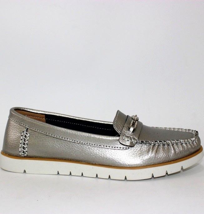 Женские туфли на плоской подошве серебро кожа