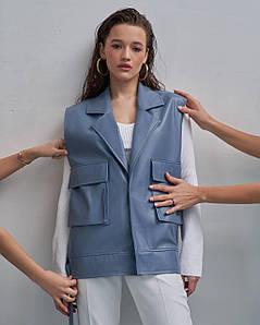 Жилет жіночий екокожа на підкладці 701 AniTi, сіро-блакитний