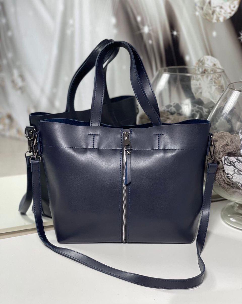 Большая синяя женская сумка шоппер городская на плечо шоппер модная брендовая экокожа