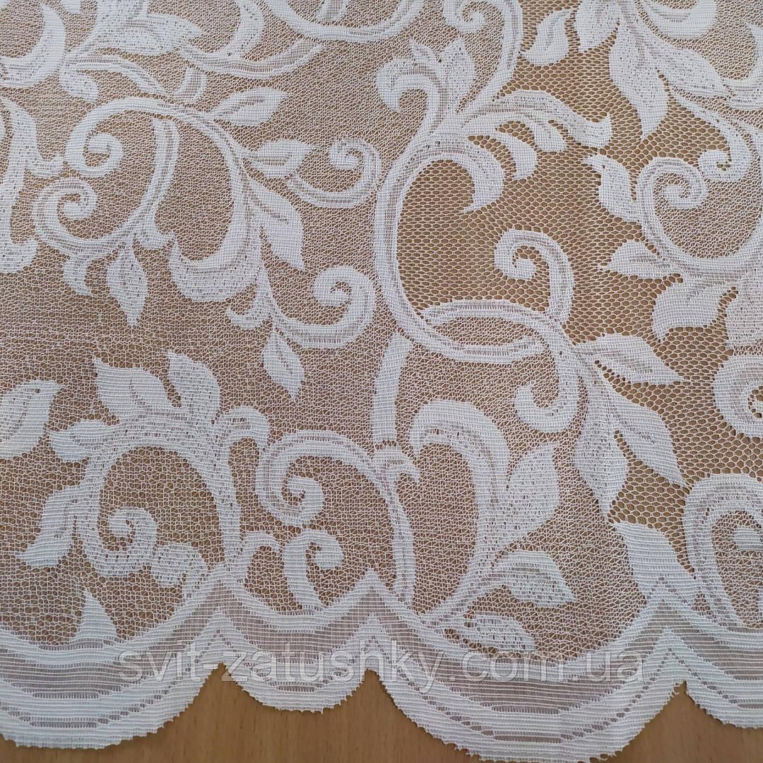 Гардина 1.65 м жаккардова колір біла / Тюль жаккард біла висота 1.65 м
