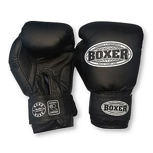 Боксерские перчатки 6 оz кожвинил, черные BOXER