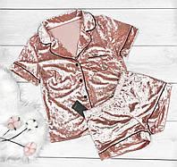 Велюровая пижама пудрового цвета, теплые пижамы.