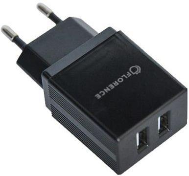 Мережевий зарядний пристрій Florence 2xUSB 2A + USB Type-C Cable Black (FL-1021-KT)