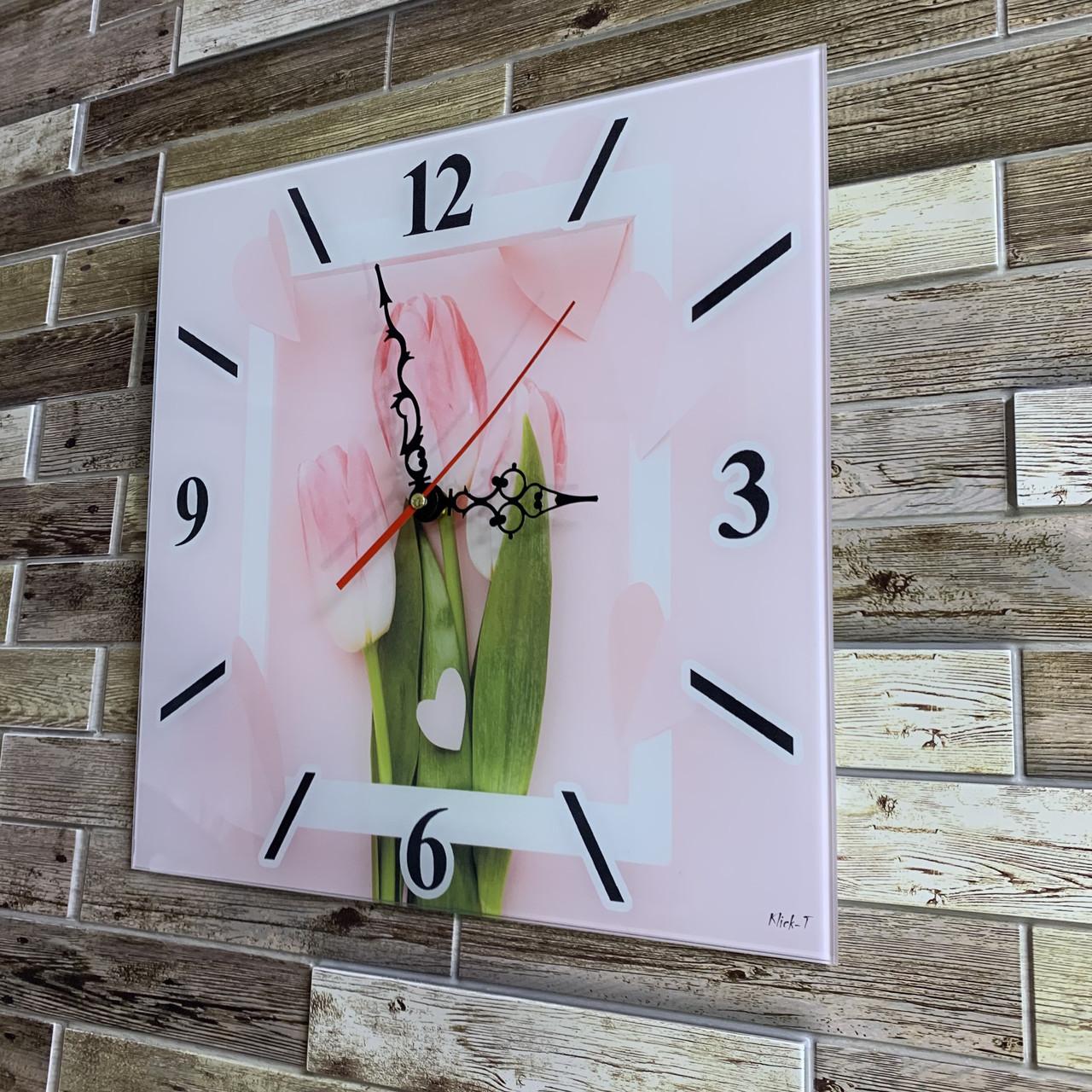 """Годинники настінні квадратні """"Рожеві тюльпани"""""""
