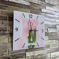 """Годинники настінні квадратні """"Рожеві тюльпани"""", фото 2"""