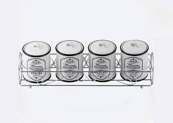 Банки для спецій на підставці Maestro Paris Maison 180мл 5пр MR-20030-04CS