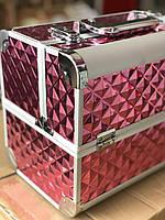 Чемодан металевий розсувний, манікюрний кейс для майстра, шкатулка кейс для прикрас, Колір фіолетовий