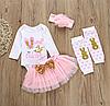 Комбинезон с длинными рукавами и принтом для новорожденных девочек, фатиновая юбка повязка на голову.