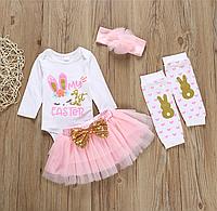 Комбинезон с длинными рукавами и принтом для новорожденных девочек, фатиновая юбка повязка на голову., фото 1